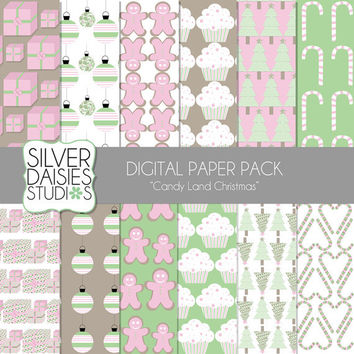"""Candy Land Christmas Digital Paper 12 Pack- 12""""x12"""" - INSTANT DOWNLOAD - Digital Scrapbooking - pink and green paper - christmas tree"""