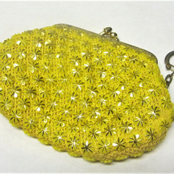Vintage Yellow Coin Purse Made in Hong Kong 1960s Yellow Plastic Beaded Coin Wallet