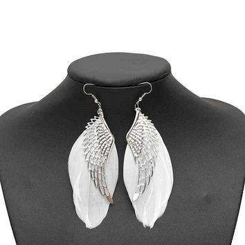LNRRABC Dangle Angel Wing men jewelry 2018 Women Bohemian Long Feather Earrings Fashion Jewelry White Free Shipping