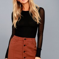 Nights Like This Terra Cotta Denim Mini Skirt