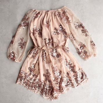 Reverse   Life Of The Party Strapless Sequin Romper   Rose Gold