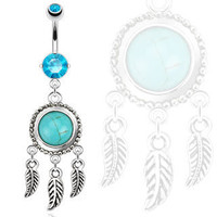 316L Dream Catcher with Turquoise Semi Precious Stone and Leaves Dangle Navel Ring