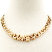 Love Charm Chain Link Necklace