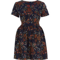 Navy floral tapestry skater dress