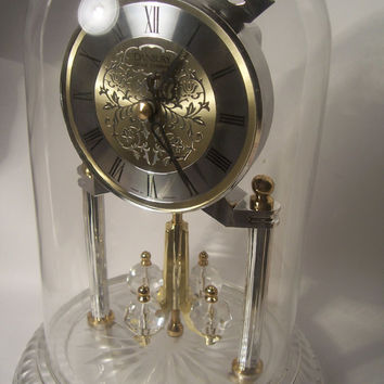 Danbury Clock Co. Anniversary Clock Made in Germany Glass Dome