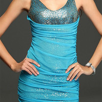 Mesh Layered Sequined Bodycon Dress