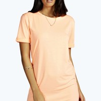 Rochelle Neon Turn Back Sleeve TShirt Dress