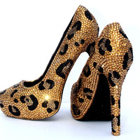 Gold & Black Leopard Crystal Heels
