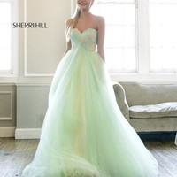 2014 Sherri Hill Green Prom Dresses 21314