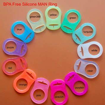 200 pcs Transparent clear Silicone pacifier Rings Baby Mam Rings/Dummy Clips Adapter HD047 13 Colors