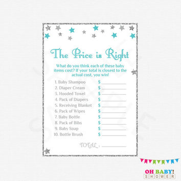 The Price is Right Baby Shower Games Teal Silver Gray Baby Shower Game + Sign Twinkle Little Star Boy Baby Shower Printable Baby STGST