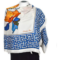 Christian Dior Silk Shawl Vintage Couture Abstract Floral Shawl 100% Silk Crepe de Chine White Blue Orange