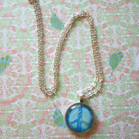 blue peace sign hippie bohemian round glass dome necklace for fashionable kids, tween or teen girl