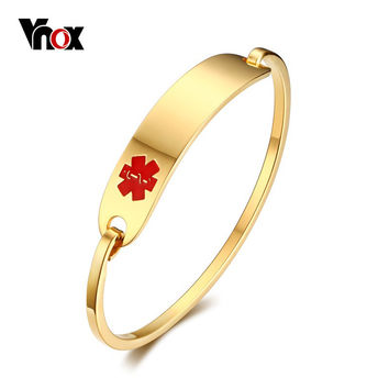 Vnox Free Engraving Medical Alert Bracelet Non Allergenic Surgical Steel ID Cuff Bangle Bracelets for Women Jewelry