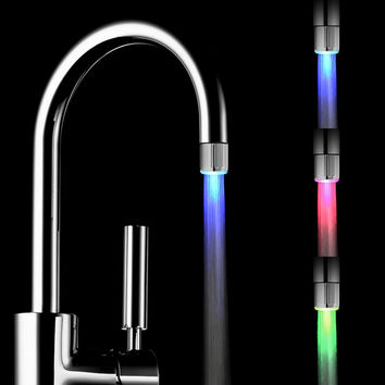 7 Colors LED Water Faucet Light Changing Glow Shower Head Kitchen Tap Aerators