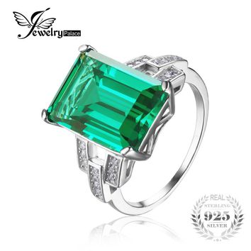 JewelryPalace Luxury 5.9ct Created Green Emerald Cocktail Ring Pure 925 Sterling Silver Engagement Vintage Jewelry