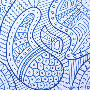 OOAK Blue zentangle ACEO, original art card, miniature zen doodle, abstract art