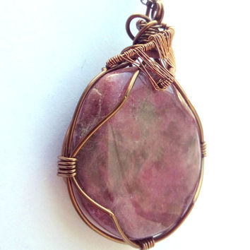 Rhonodite Pendant Necklace Wire Wrap Jewelry Handmade Mother's Day Healing Jewelry Wire Jewellery Pink Necklace Rescue Stone Crystal