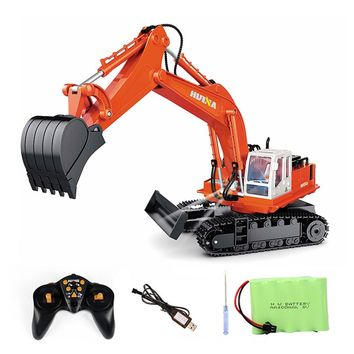 HuiNa Toys 40MHZ 11CH Rc Excavator Construction Digger Truck Bulldozer Car with Light Toys
