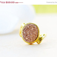 Mothers Day Sale Rose Gold Druzy Ring,Gold druzy Ring,Gold Ring,Agate Ring,Gemstone Ring,Geode Ring,statement ring,Mom Ring,Mother Ring,Gift