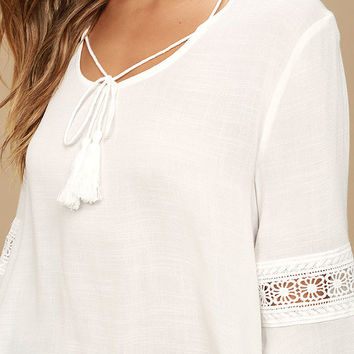 Run Wild White Lace Long Sleeve Top