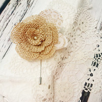 Rustic wedding boutonniere burlap and lace handmade flower metal pin