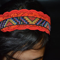 Wide Aztec Hippie Red Lace dband- Bohemian Head bands