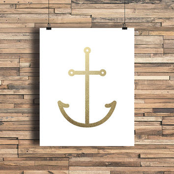 Anchor Faux Gold Foil Art Print - Sea - Minimalist Art - Home Office Bathroom Decor - Housewarming Gift - Wedding Gift - Baby Nursery Decor