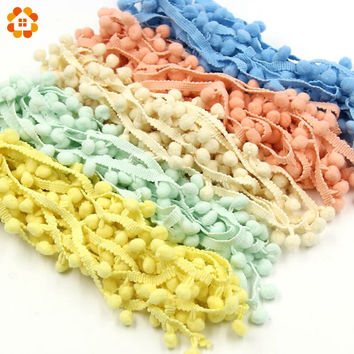 Hot Sale 10MM Pom Pom Trim Ball Fringe Ribbon DIY Sewing Accessory Lace 17 Colors  For Home Party  Decoration