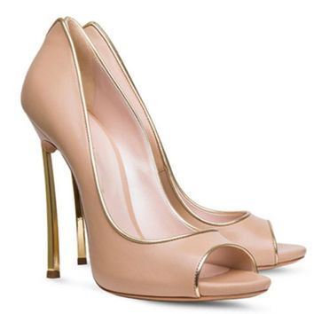 Gold Metal Heel Peep Toe Slip Leather Shallow Stilettos High Heel Pump