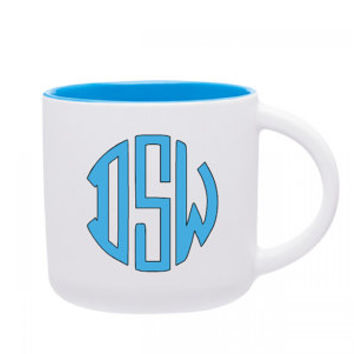 Monogrammed 14 oz Coffee Mug, Ceramic Mug, Gloss Exterior