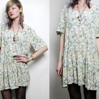 90s Vintage Dress BOHEMIAN GRUNGE White Floral Button-Down Soft slouchy Mini Boho s m l