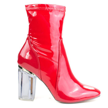 Cameron3 Red Patent by X2B, Red Patent sleek ankle bootie latex patent Perspex glass block heel w pointed toe