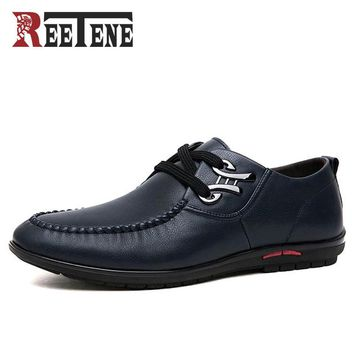 Fashion Men Casual Shoes Leather Shoes Men Breathable Flat With Men Shoes Driving Shoes