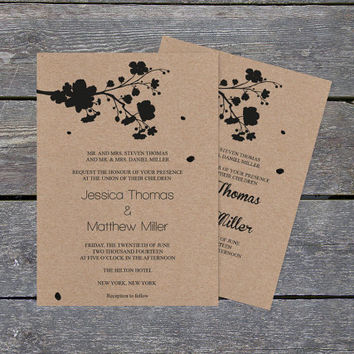 Kraft Paper Wedding Invitation Template - Cherry Blossom Spring - Rustic Printable Wedding Invite - Editable PDF Templates - DIY You Print