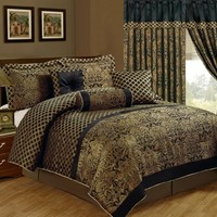 Chezmoi Collection Lisbon 7-Piece Jacquard Floral Comforter Set, King, Black/Gold