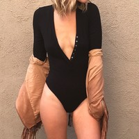 Skylar Long Sleeve Ribbed Bodysuit