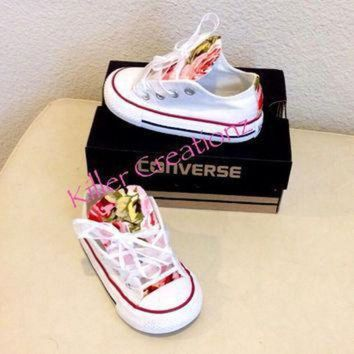CREYON custom converse low tops with floral print infant sizes