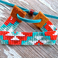 aztec bead loom native american bracelet - blue and red bracelet - beaded bracelet