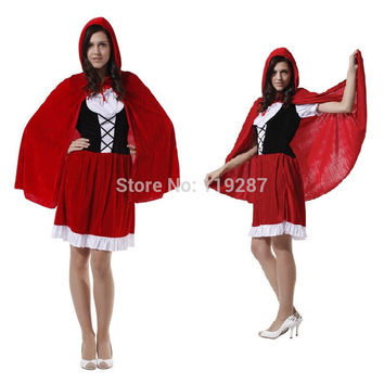 Women holiday dress cape adult little red riding hood cosplay costume female fantasia halloween costumes for 155-170cm women