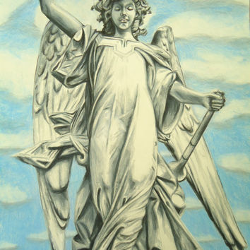 Angel artwork - St. Gabriel art - Original Angel art - Original pencil drawing - Wall decor - Angel decor - Religious art - Christmas decor