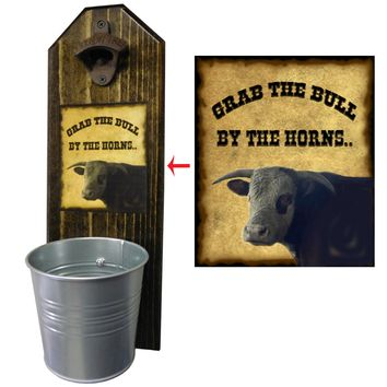 Grab the Bull Peek-a-Boo Bottle Opener and Cap Catcher, Wall Mounted