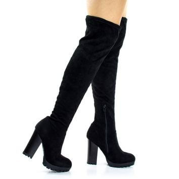 Gaby14s Black By Bamboo, OTK Over Knee Thigh High Pull-On Slouch Suede Boots w Threaded Lug Sole