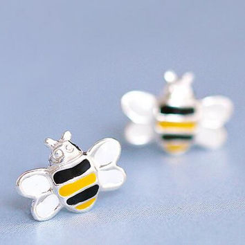 Small Honey Bee Stud Earrings - Silver Bee Post Earrings - Animal Jewelry - Bee Jewelry - Tiny Stud Earrings - Insect Earrings, Gift for her + Gift Box