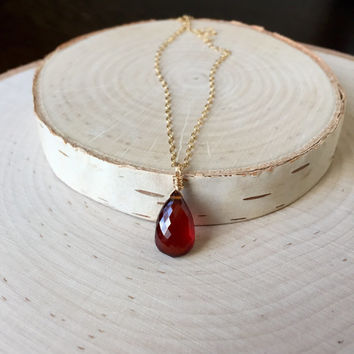 Gorgeous, AAA Hessonite Garnet, Gemstone Briolette Pendant in 14k Gold Fill, January Birthstone Necklace, Anniversary Gift, Garnet Necklace