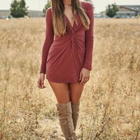 Knot Your Average Girl Dress (Marsala)