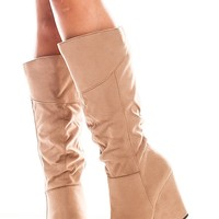 LIGHT TAUPE FAUX SUEDE HIGH HEEL KNEE HIGH WEDGE BOOT
