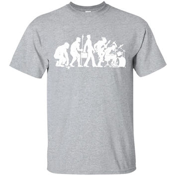 Drummer Evolution Funny T-Shirt Drums Humor Tee -01