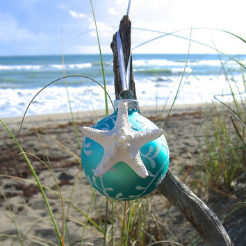 Christmas Starfish Ornament-TIFFANY BLUE FROST-Beach Home Decor, Coastal Christmas, Starfish Ornament, Aqua Blue, Mermaid Ornament