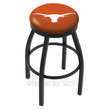 Holland Bar Stool L8B2B - Black Wrinkle Texas Longhorns Swivel Bar Stool w/ Accent Ring